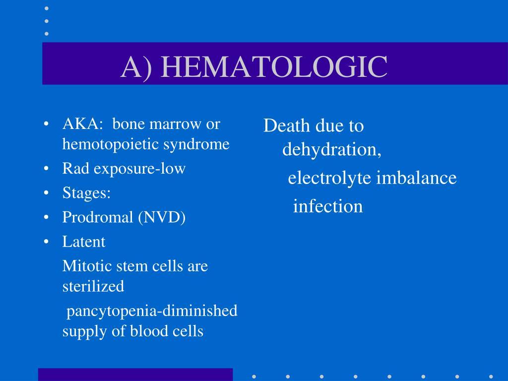 AKA:  bone marrow or hemotopoietic syndrome