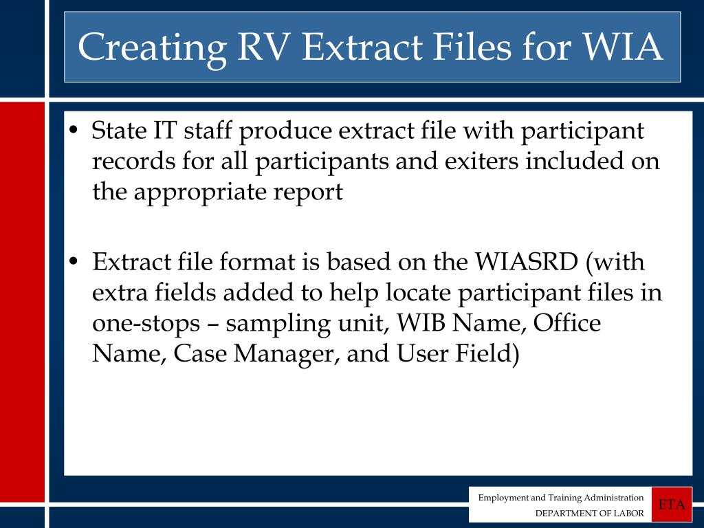 Creating RV Extract Files for WIA