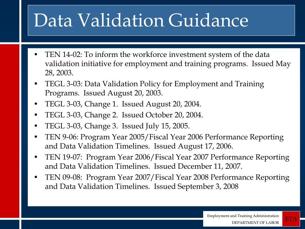 Data Validation Guidance