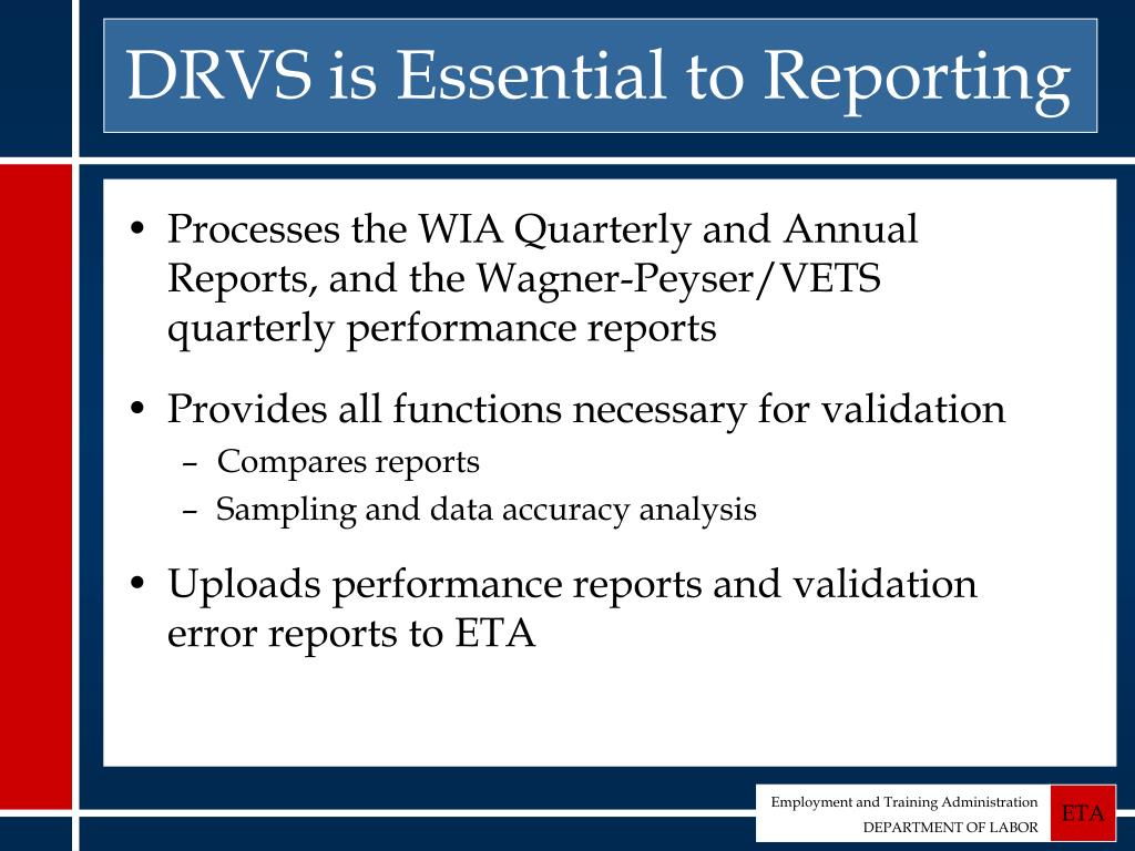 DRVS is Essential to Reporting