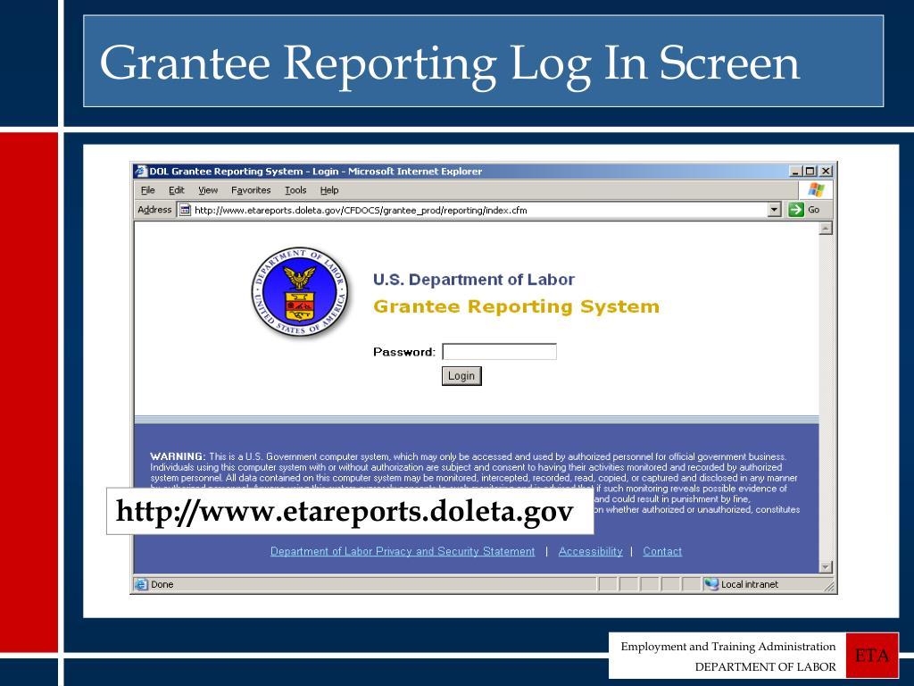Grantee Reporting Log In Screen