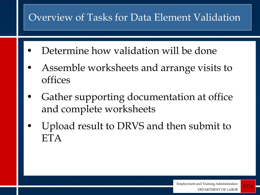 Overview of Tasks for Data Element Validation