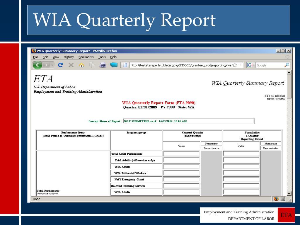WIA Quarterly Report