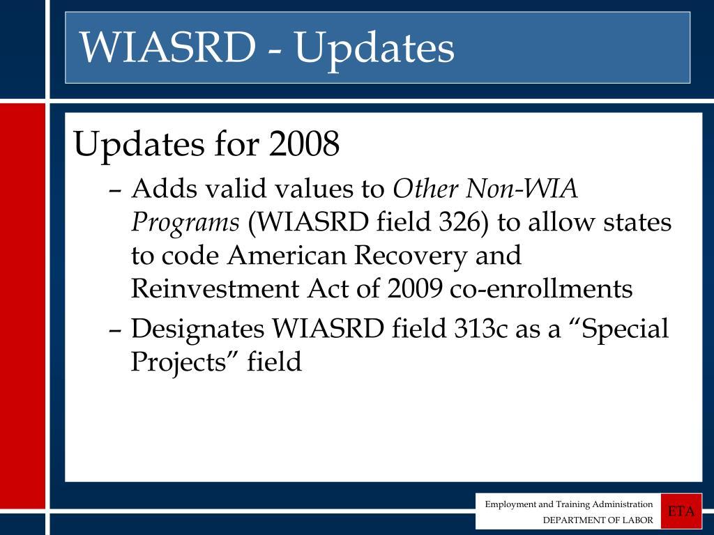 WIASRD - Updates