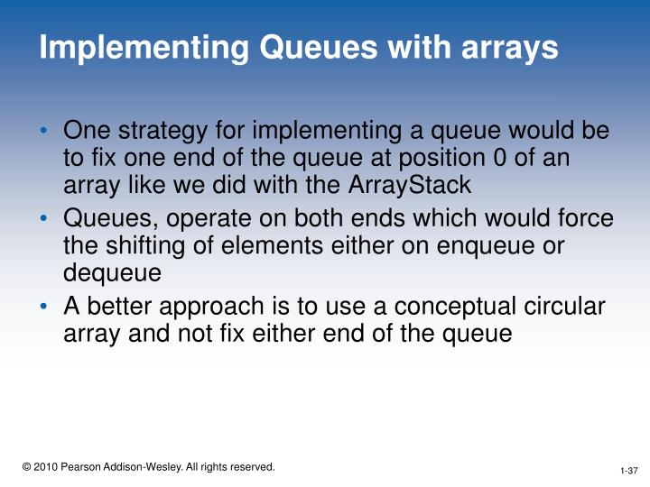 Implementing Queues with arrays
