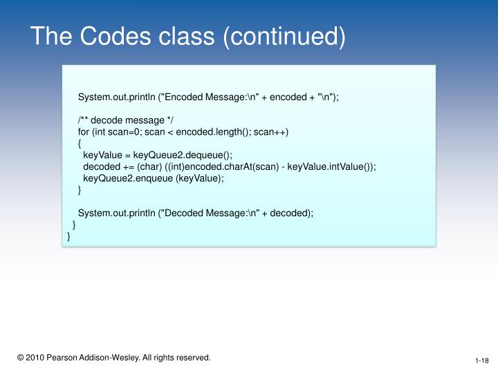 The Codes class (continued)