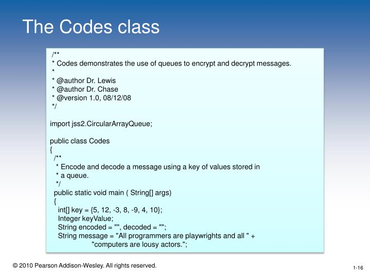The Codes class