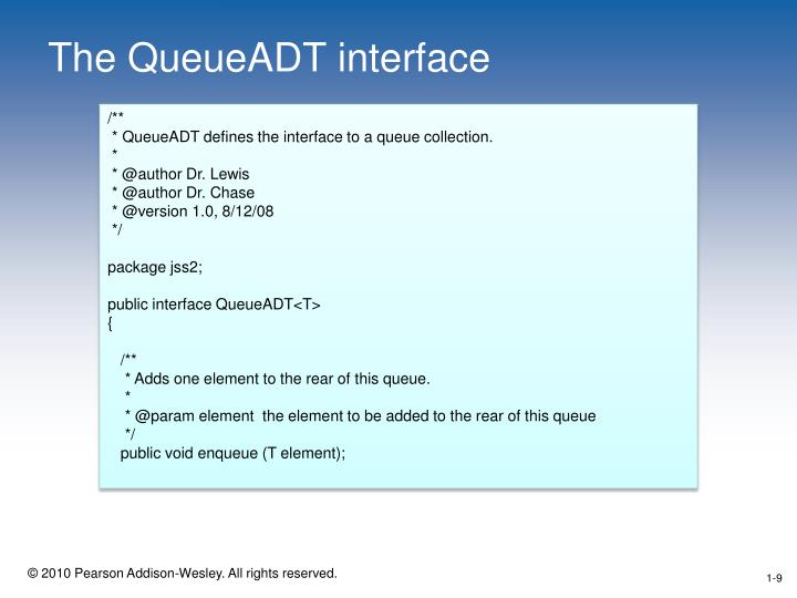 The QueueADT interface