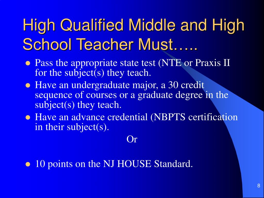 High Qualified Middle and High School Teacher Must…..