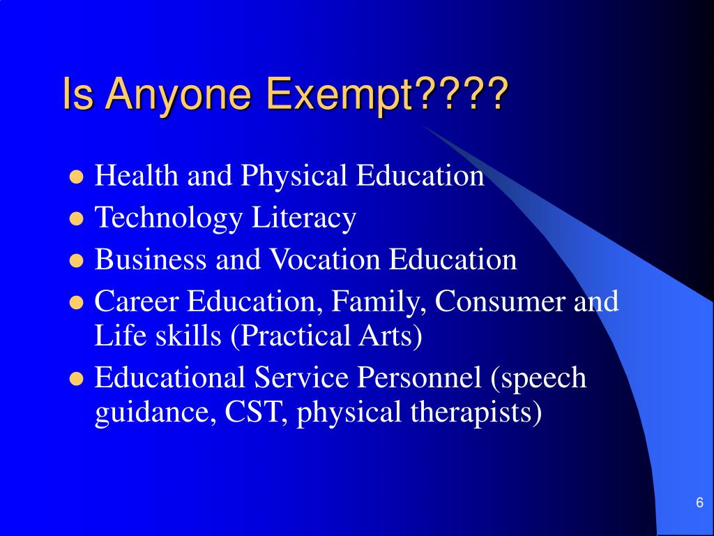 Is Anyone Exempt????