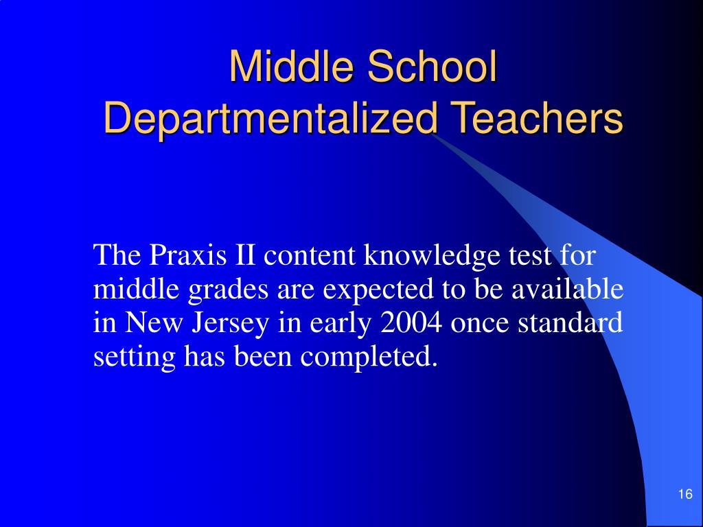 Middle School Departmentalized Teachers