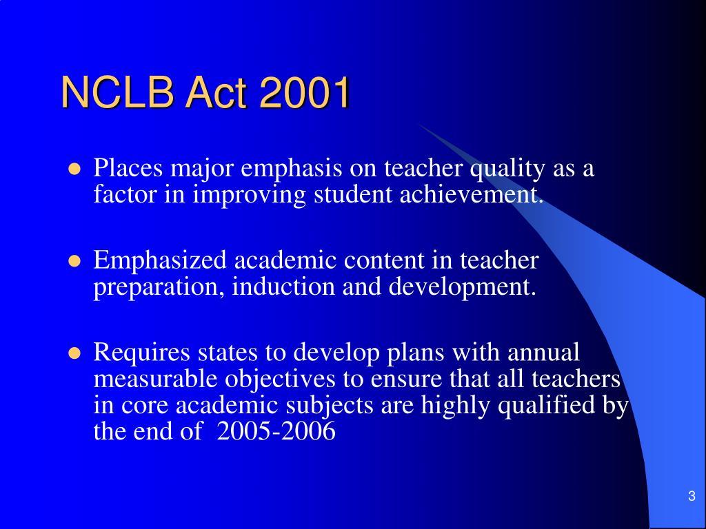 NCLB Act 2001