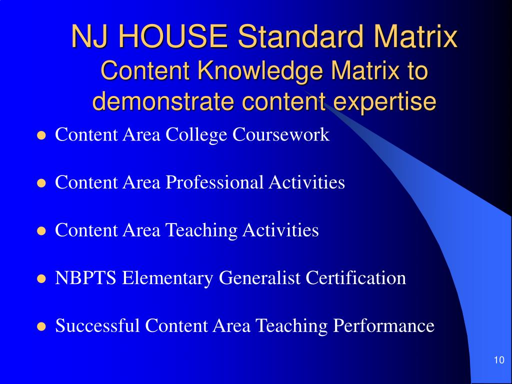 NJ HOUSE Standard Matrix