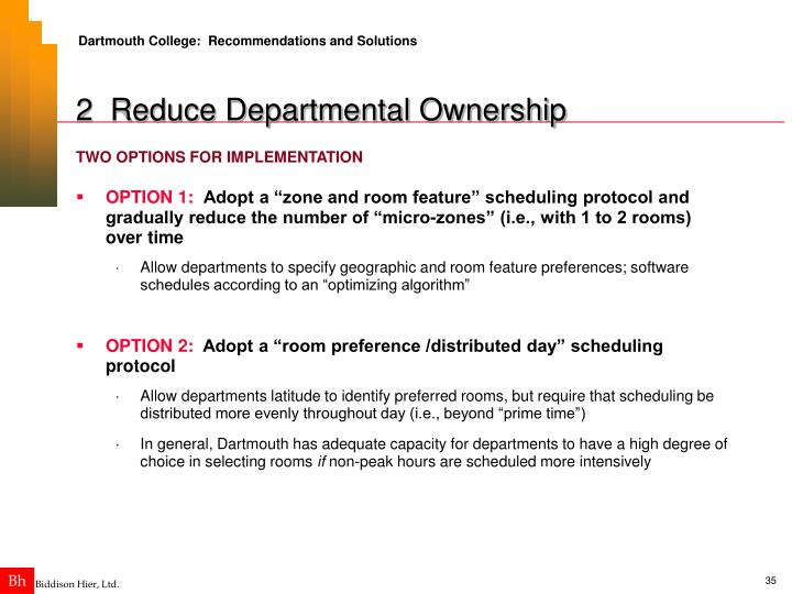 Dartmouth College:  Recommendations and Solutions