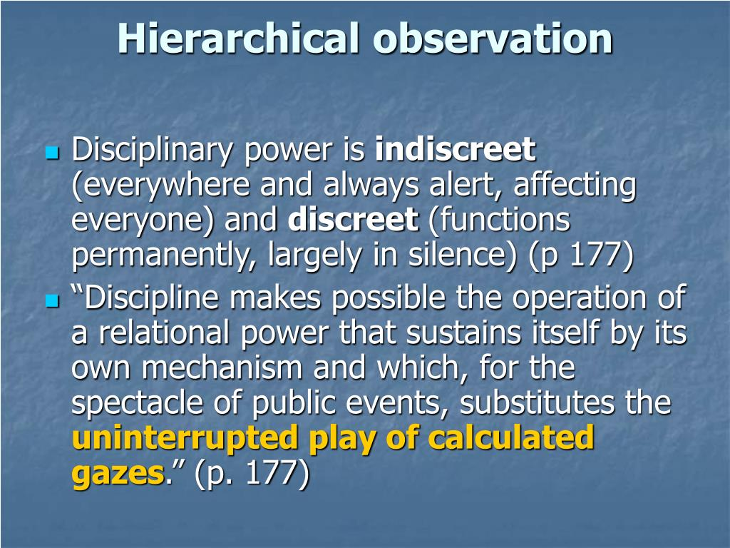 Hierarchical observation