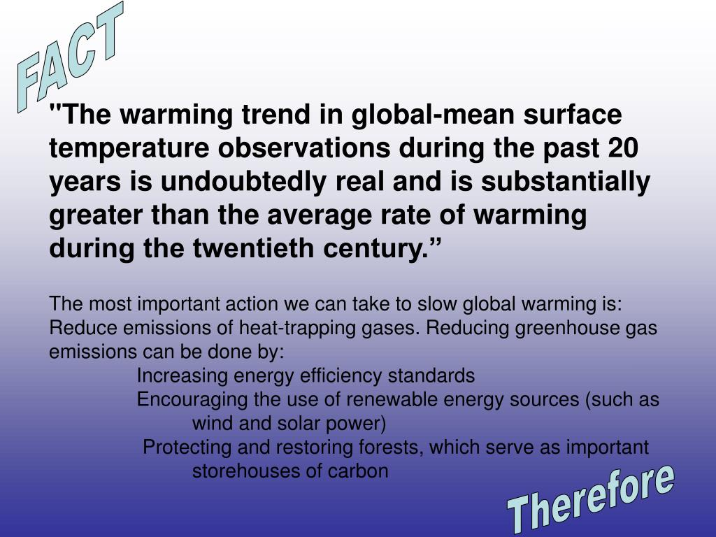 """""""The warming trend in global-mean surface temperature observations during the past 20 years is undoubtedly real and is substantially greater than the average rate of warming during the twentieth century."""""""