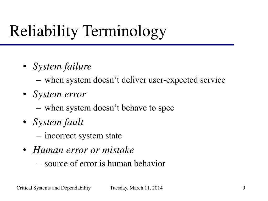 Reliability Terminology