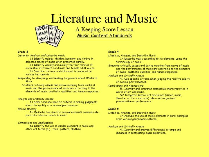 Literature and music a keeping score lesson music content standards