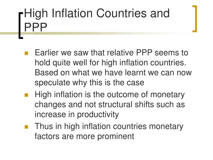 High Inflation Countries and PPP