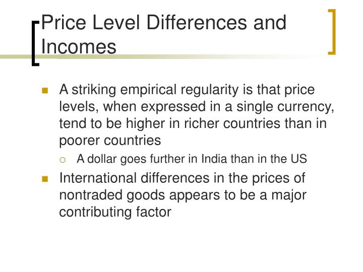 Price Level Differences and Incomes