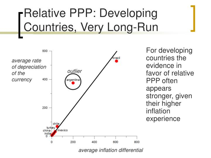 For developing countries the evidence in favor of relative PPP often appears stronger, given their higher inflation experience