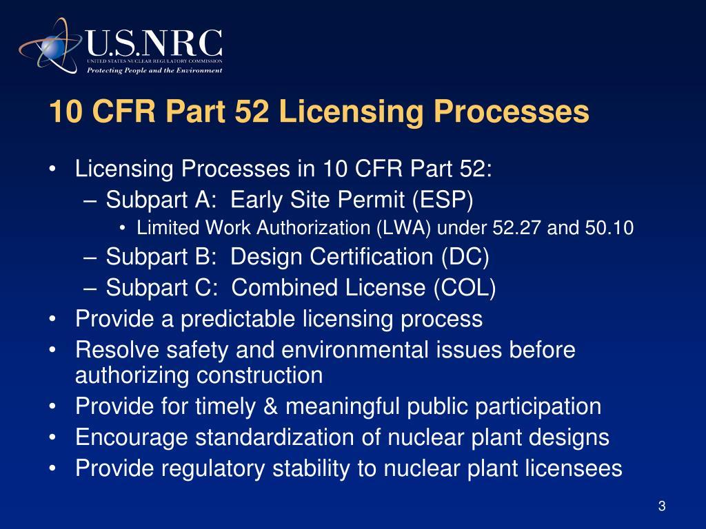10 CFR Part 52 Licensing Processes