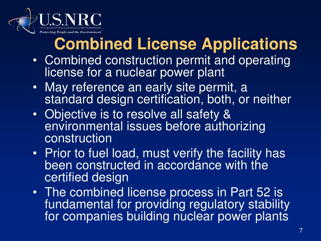 Combined License Applications