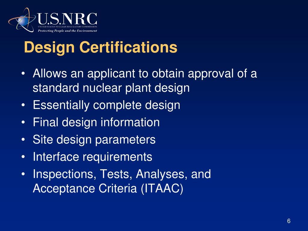 Design Certifications