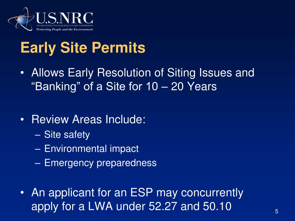 Early Site Permits