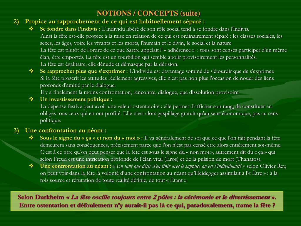 NOTIONS / CONCEPTS (suite)