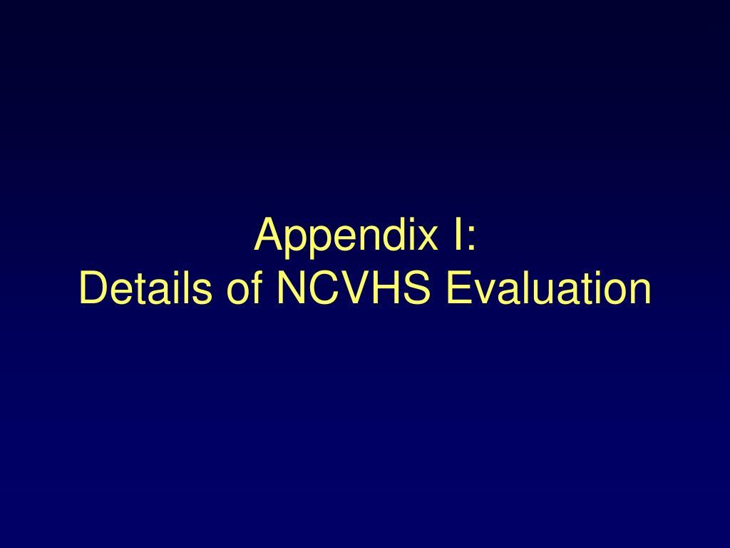Appendix I:
