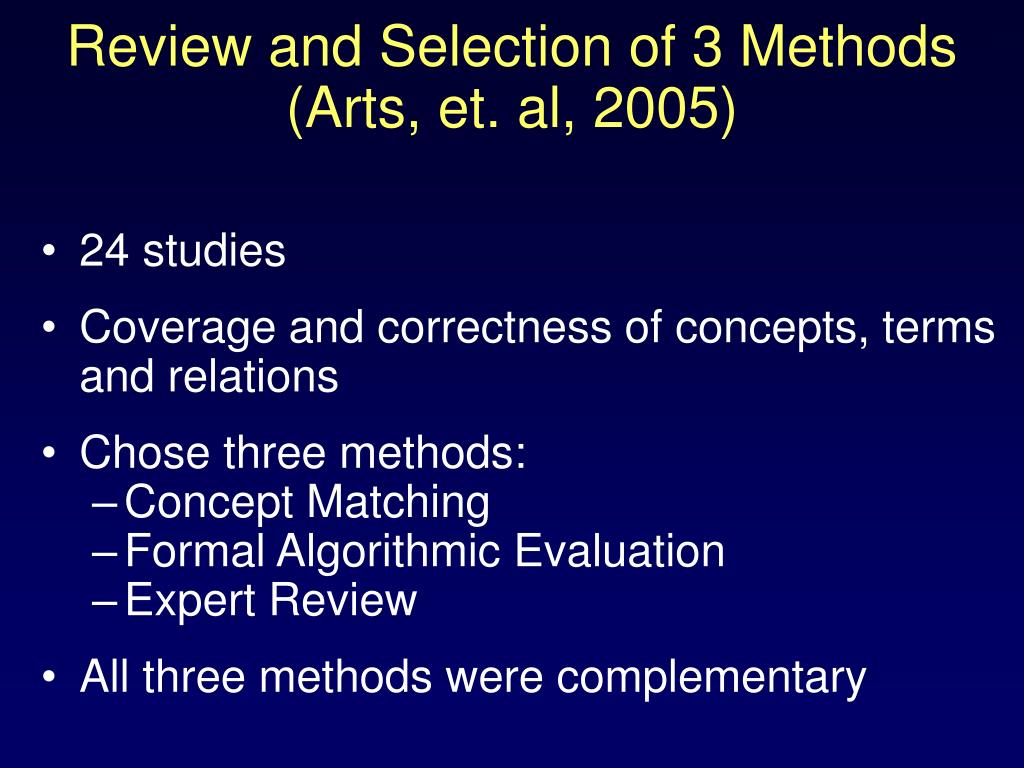Review and Selection of 3 Methods