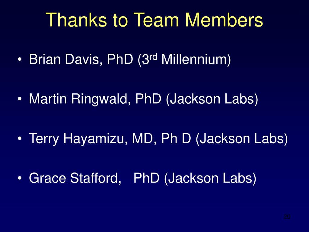 Thanks to Team Members