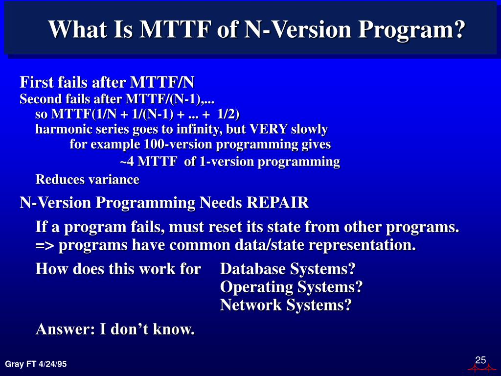 What Is MTTF of N-Version Program?