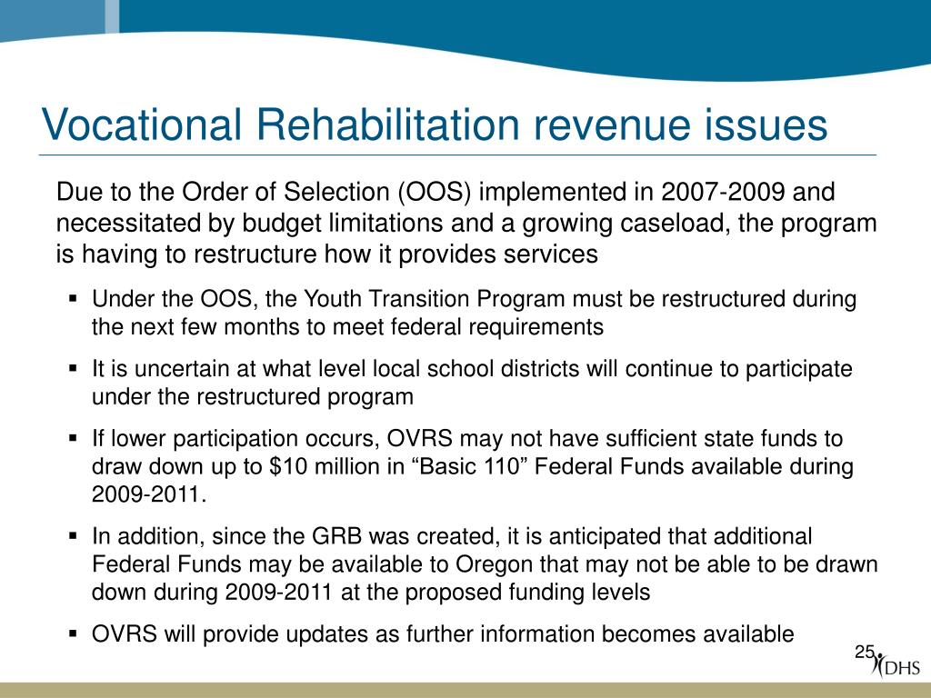 Vocational Rehabilitation revenue issues