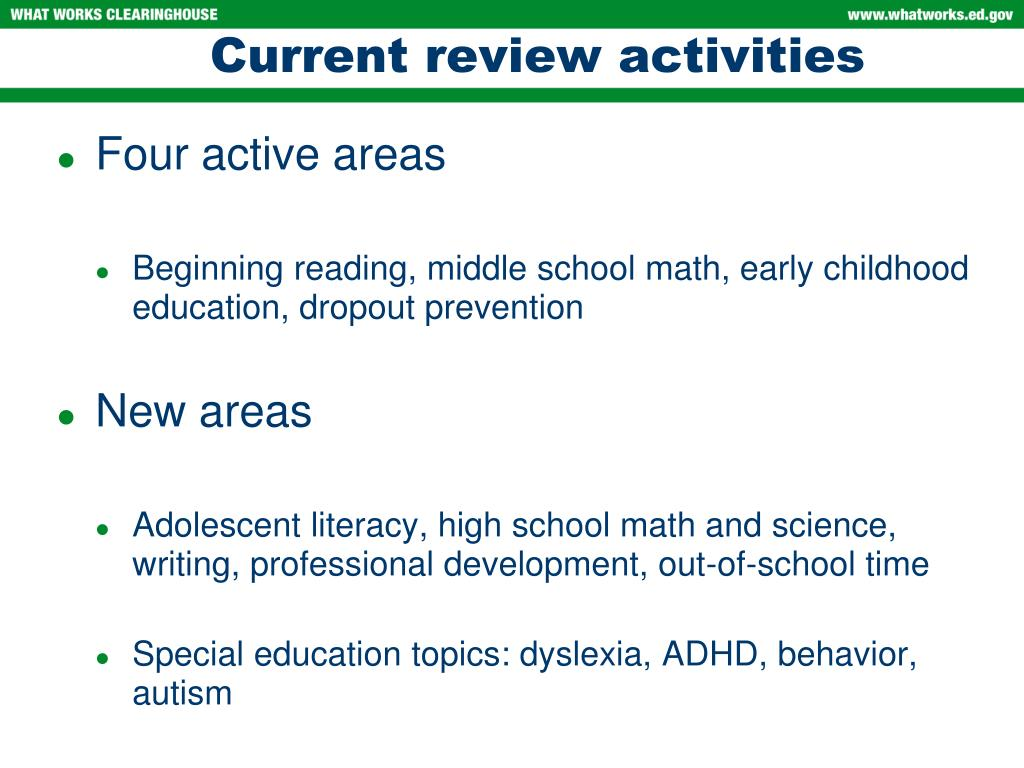 Current review activities