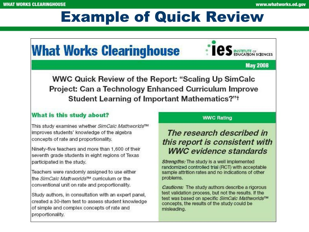Example of Quick Review