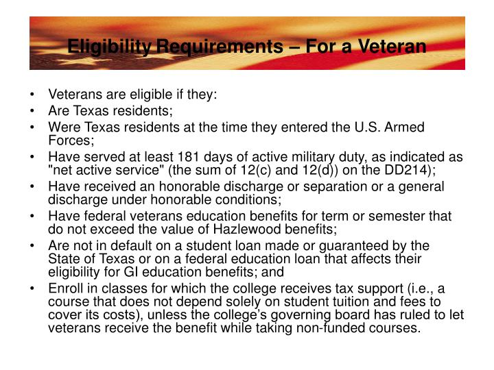 Eligibility requirements for a veteran