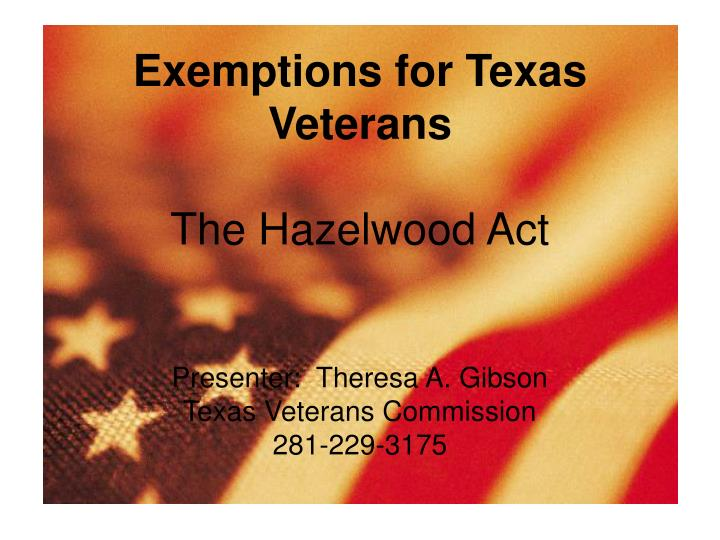 Exemptions for Texas Veterans