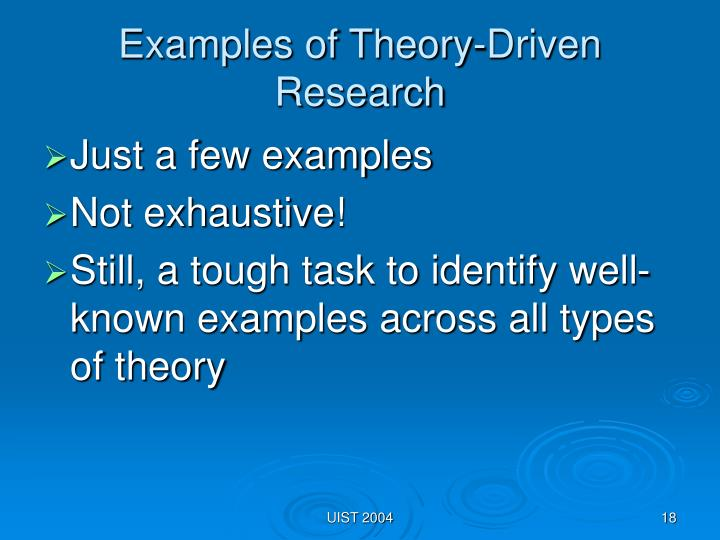 Examples of Theory-Driven Research