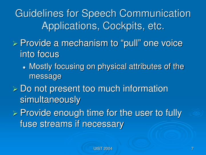 Guidelines for Speech Communication Applications, Cockpits, etc.