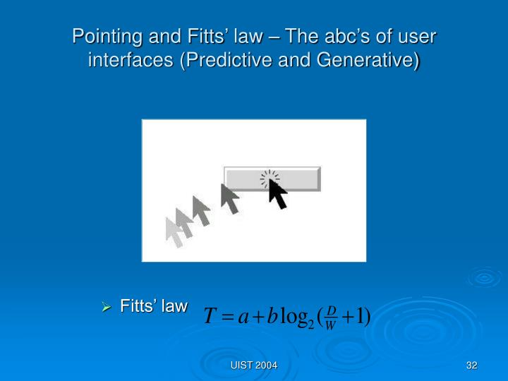 Pointing and Fitts' law – The abc's of user interfaces (Predictive and Generative)