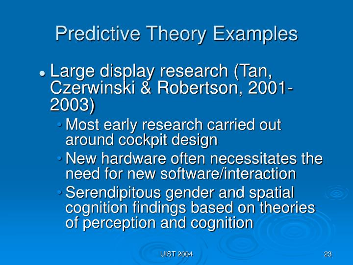 Predictive Theory Examples