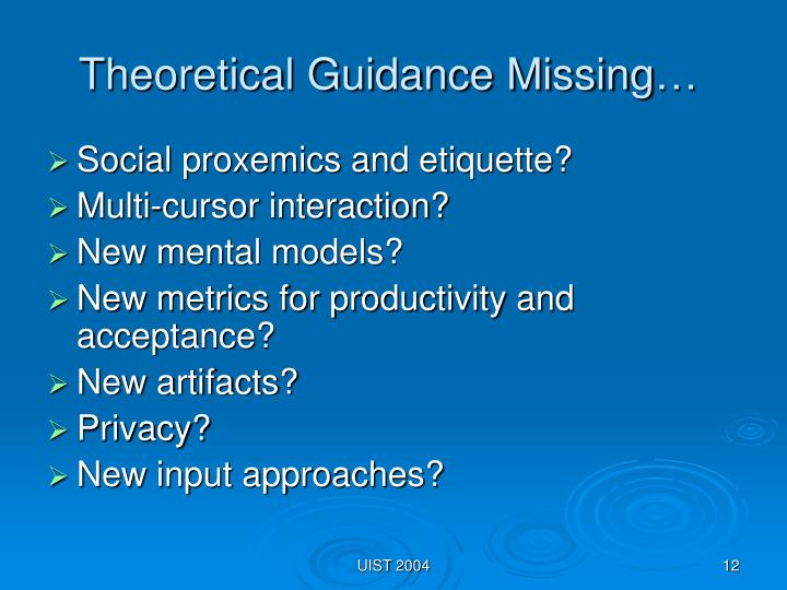 Theoretical Guidance Missing…