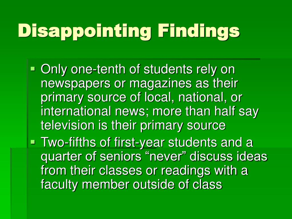 Disappointing Findings