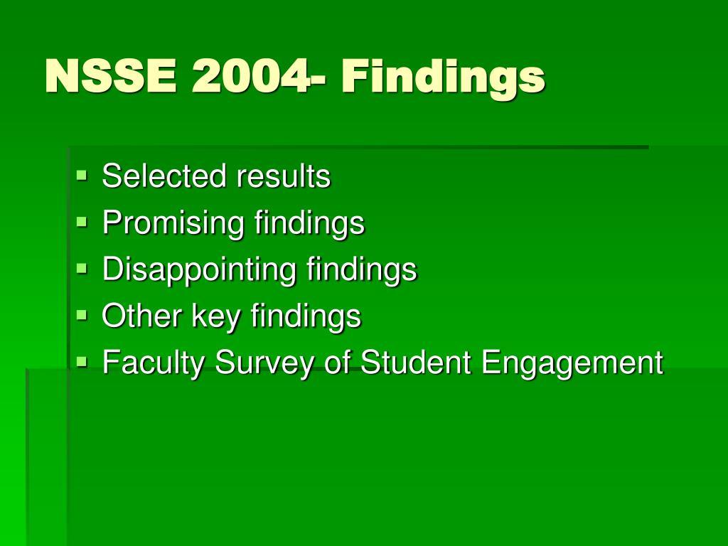 NSSE 2004- Findings