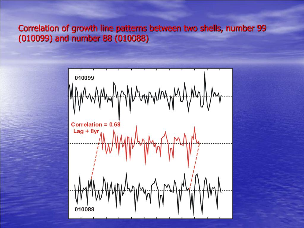 Correlation of growth line patterns between two shells, number 99 (010099) and number 88 (010088)