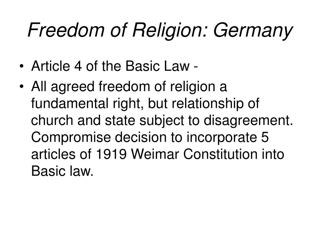 Freedom of Religion: Germany