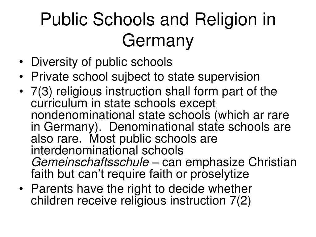 Public Schools and Religion in Germany