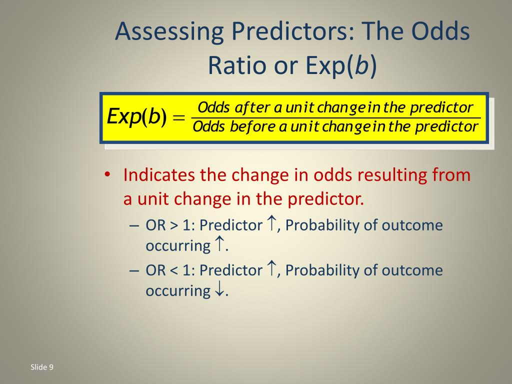 Assessing Predictors: The Odds Ratio or Exp(